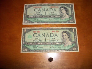 2 Vintage Canadian Dollar Bills with 1967 Centennial Pin