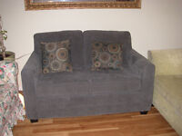 New Dark Grey Simmons Loveseat/Twin Sofa Bed Made In Canada