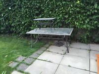 Outdoor glass and metal frame picnic tables