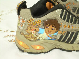 Go! Diego Light-Up Sneakers - Toddler Size 7 (2 - 3 yrs old)