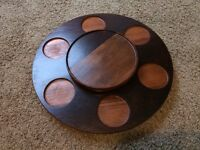 Wooden rotating turntable serving plate for the dinning table