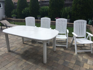 Patio table and reclining chairs