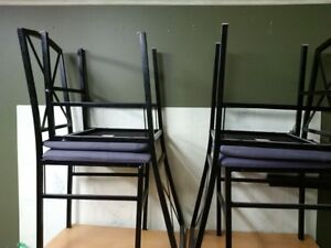 Frosted glass table and 4 black matching chairs Peterborough Peterborough Area image 2