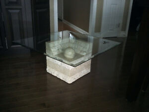 Glass top table with marble base