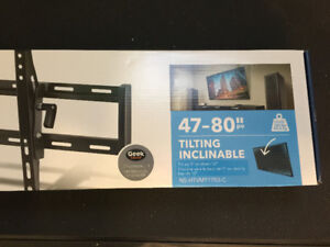Never out of the box.  Wall Mount for 47-80 inch television