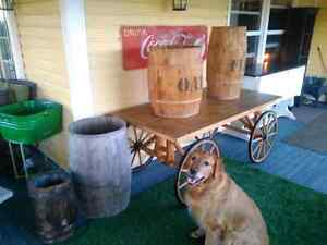 Wagon,barrels, and Pantry's sign's collectibals benches