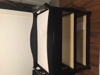 Black crib and changing table