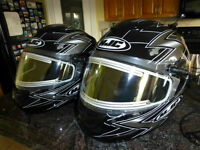 TWO SNOWMOBILE HJC HELMETS WITH ELECTRIC SHIELD – MOVING SALE