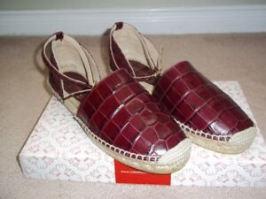 BRAND NEW EQUITARE Leather Espadrilles Burgundy Sz 39 (9) -SPAIN