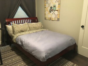 Attractive Wooden Double IKEA Bed and Ther-A-Pedic Mattress