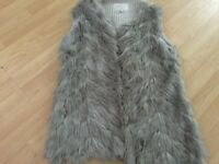 Grey fur gilet size 12 from river island
