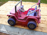 Kids Barbie Jeep  & 12 volt battery