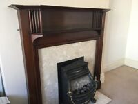 Free to good home mahogany coloured wood Edwardian fire surround