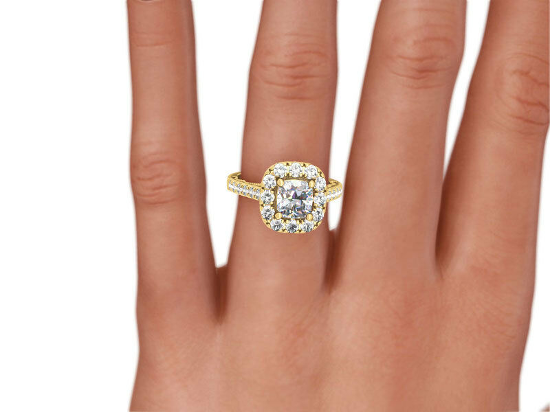 Anniversary 4 Prongs Vs2 Diamond Halo Ring Cushion 14k Yellow Gold 1.75 Carats