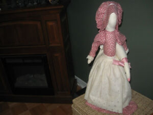 Hand-Sewn Figure: Lady Holding a Goose
