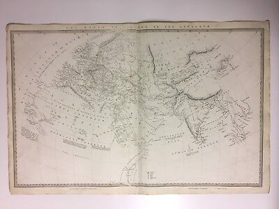 Vintage Original 1845 Topographic Map Of 'The World As Known To The Ancients'
