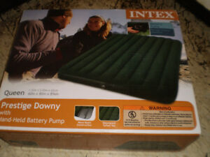 "Intex Queen 8.75"" Prestige Downy Airbed Mattress with Pump, NEW"