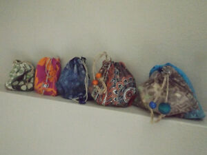 Small handcrafted drawstring pouches