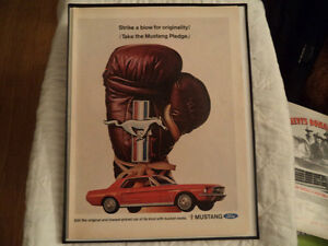 OLD FORD MUSTANG CLASSIC CAR FRAMED ADs man cave Windsor Region Ontario image 3