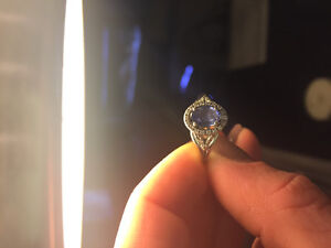 Genuine diamond blue sapphire white gold ring London Ontario image 1