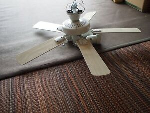 WHITE 5-BLADE CEILING FAN WITH LIGHTS