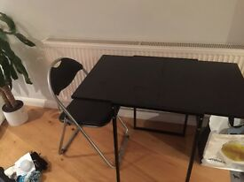 Foldable Table and Chair - Black Desk, Small Dining Table,