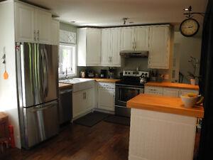 Armoires de cuisine avec comptoir en hêtre presque neuves!