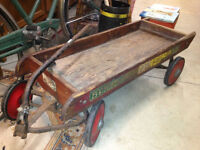 ★ Vintage 1953 Wood Wagon w/Mini License Plates ★