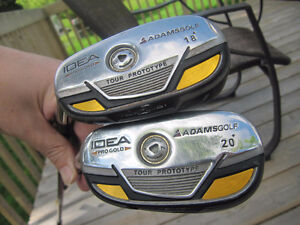 2 LEFTY/GAUCHE Adams Hybrids & RH Junior clubs