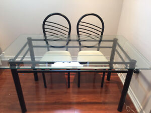 Glass Dining Table Set with Black Metal Frame & Six Chairs
