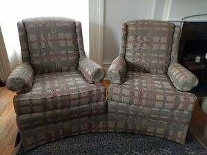 A Matching Pair of High Back Chairs