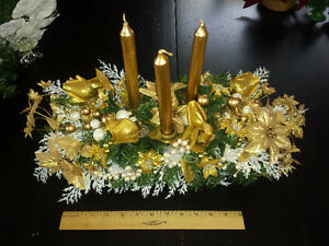 Christmas Candle Centerpiece on Wood Sleigh