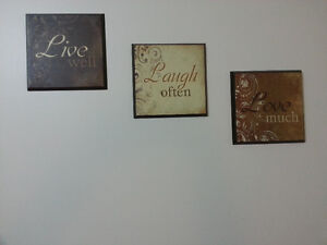 Live, Love, Laugh Clock and Wall Hangings