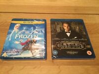 Frozen and Gatsby Blu Ray Discs
