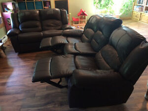 2 piece reclining couch set, 1couch, 1 love seat