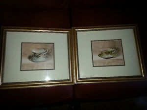 Beautiful matching pair of tea cup signed prints Belleville Belleville Area image 1