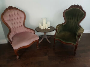 Victorian style armchairs. Carved walnut antique.