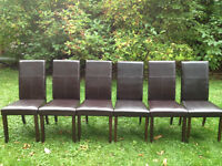 Set of 6 matching espresso dining chairs