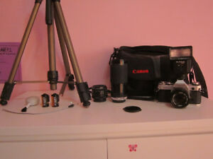 Canon AE-1 Camera; 3 Lenses, Flash, Bag, Film, Tripod
