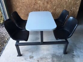 Canteen tables with chairs, table c/w 4 fixed seats