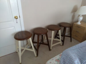 Set of 4 Wooden Stools