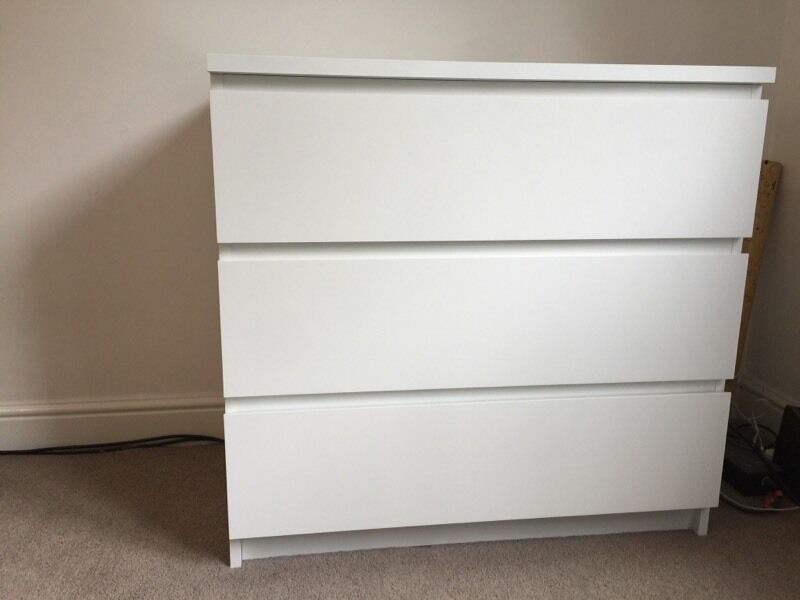 Ikea 3 Drawer Chest Of Drawers In White Malm