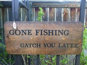 """Rustic """"Gone Fishing"""" Signs Perfect for the Man Cave or Garage"""