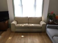 Cream fabric sofa with wooden legs (3 seater)