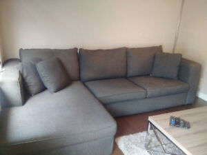 Custom made sectional couch with chaise