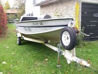 16 ft aluminum boat motor and trailer for sale