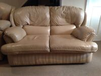Sofa leather light brown 2 seater + recliner + single see pictures