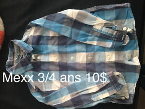 Aujourdhui si possible Chemise mexx 3/4 ans 10$ a ete payer 40$