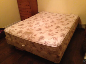 Queen Boxspring and Mattress and Frame