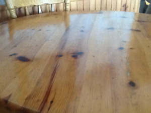Solid wood pine pedestal dining table